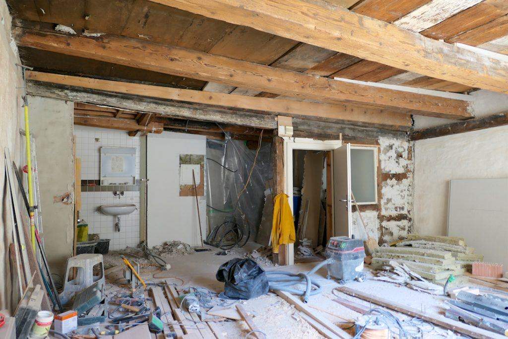 Umbau Spiegelgasse Brugg 2. Obergeschoss Süd, Baustelle