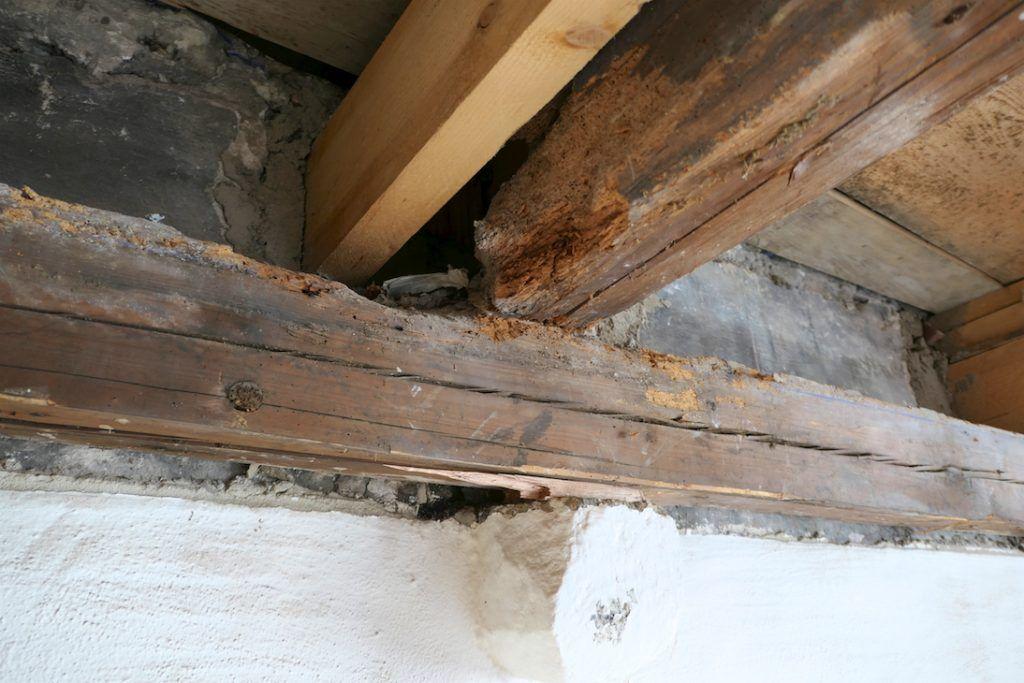 Umbau Spiegelgasse Brugg 2. Obergeschoss Süd, Abbruch der Deckenverkleidung, Zustand der alten Balken