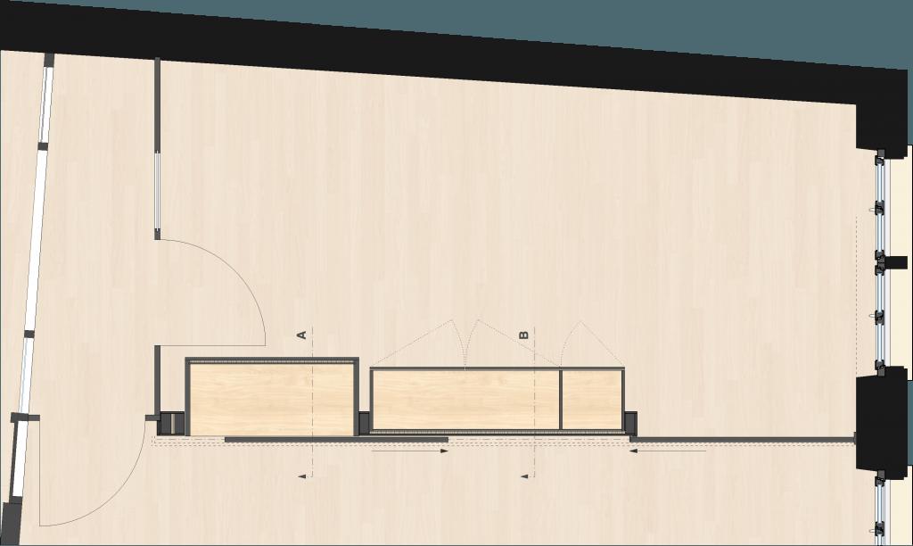 Umbau Spiegelgasse Brugg 3. Obergeschoss, Unterteilung eines Zimmers durch Wand mit eingebauten Möbeln und Schiebetür, Grundriss