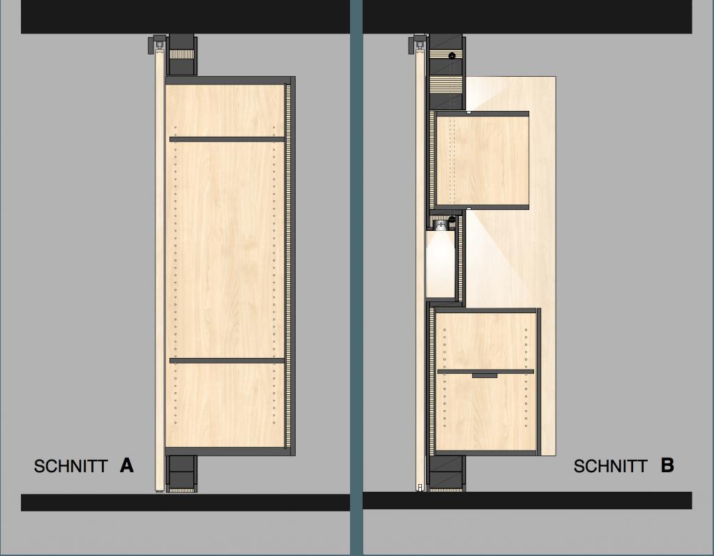 Umbau Spiegelgasse Brugg 3. Obergeschoss, Unterteilung eines Zimmers durch Wand mit eingebauten Möbeln und Schiebetür, Schnitte