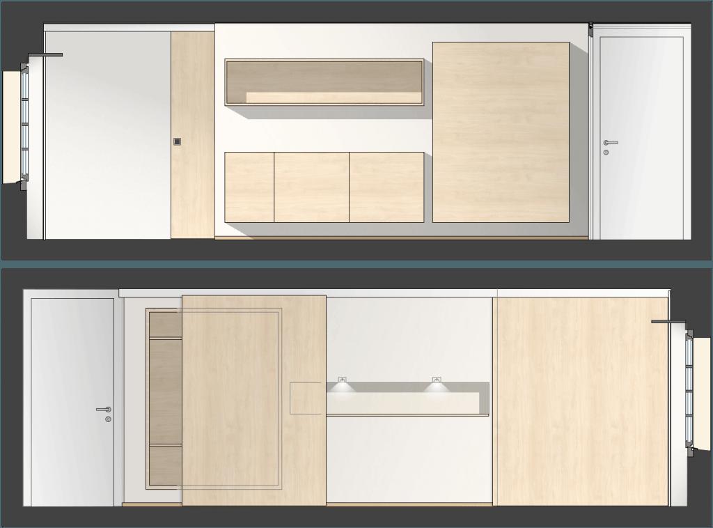 Umbau Spiegelgasse Brugg 3. Obergeschoss, Unterteilung eines Zimmers durch Möble-Wand und Schiebetür Ansichtsplan