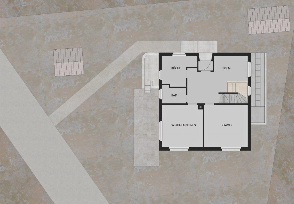 oekologischer und baubiologischer Umbau, Aufstockung und Erweiterung Wohnhaus Bühlweg Windisch Grundriss Erdgeschoss bestehend