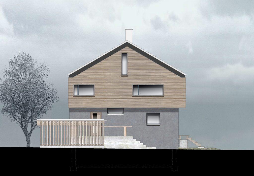 oekologischer und baubiologischer Umbau, Aufstockung und Erweiterung Wohnhaus Bühlweg Windisch, NW-Fassade