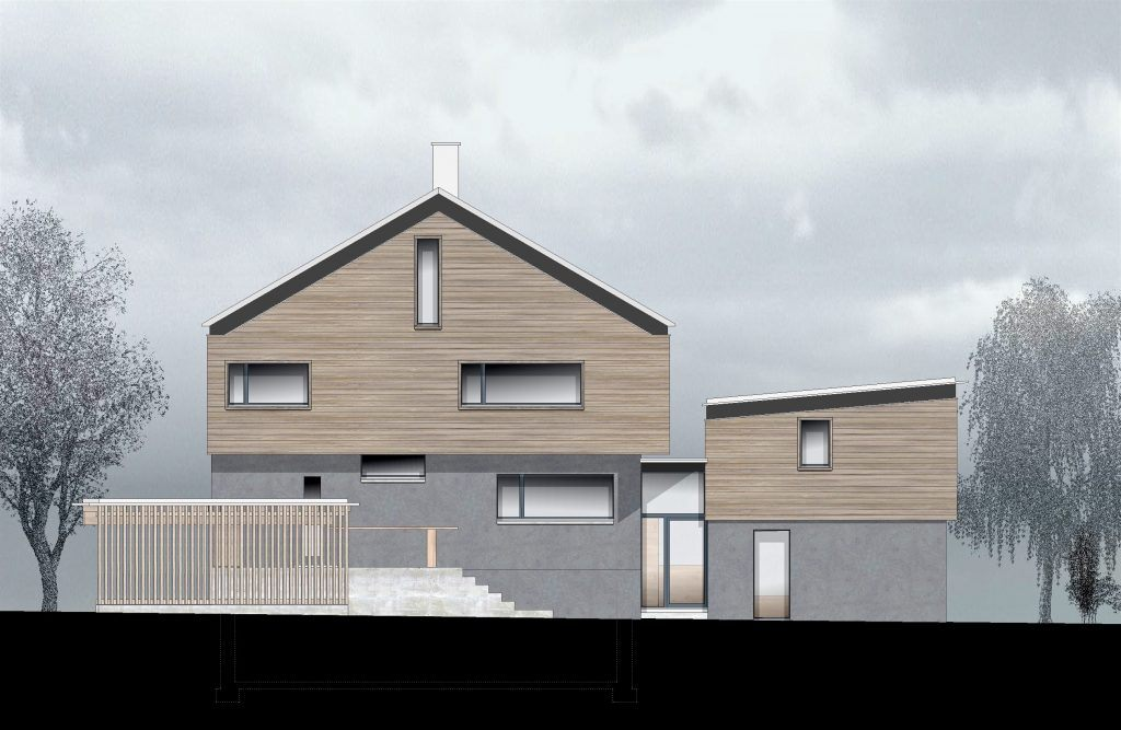 oekologischer und baubiologischer Umbau, Aufstockung und Erweiterung Wohnhaus Bühlweg Windisch, Fassade mit Anbau