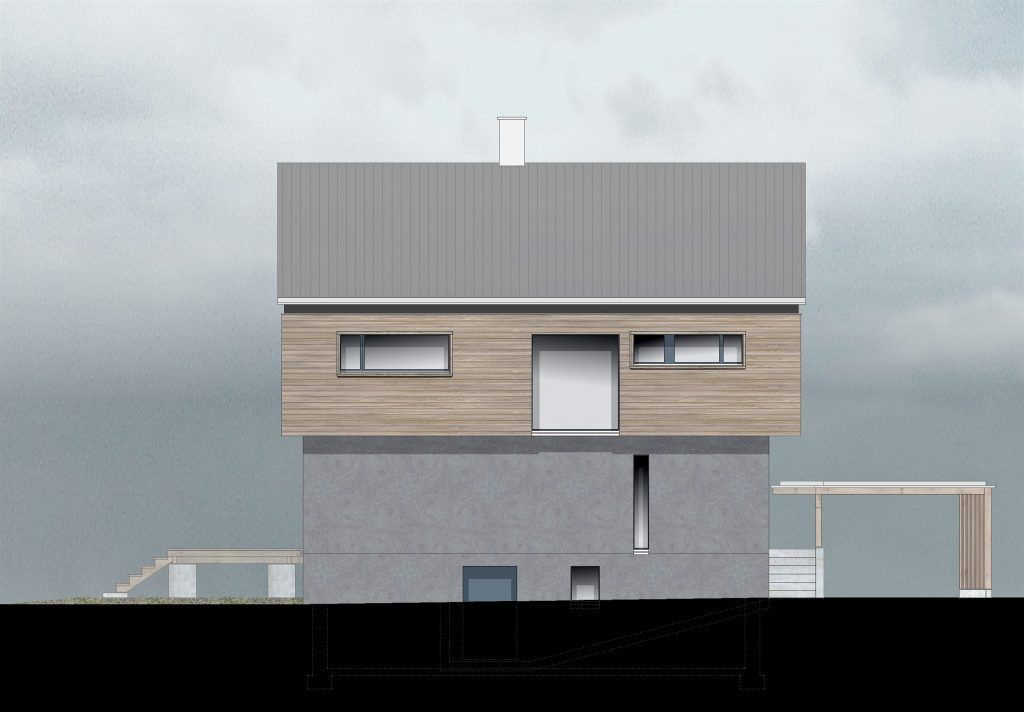 oekologischer und baubiologischer Umbau, Aufstockung und Erweiterung Wohnhaus Bühlweg Windisch, NE-Fassade