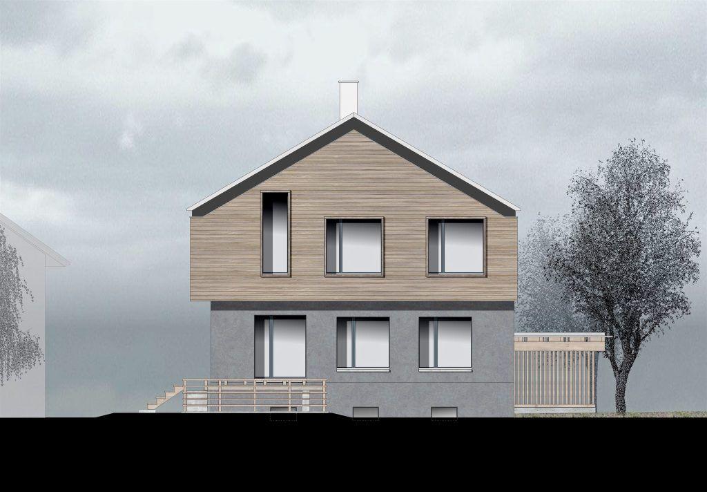 oekologischer und baubiologischer Umbau, Aufstockung und Erweiterung Wohnhaus Bühlweg Windisch, SE-Fassade