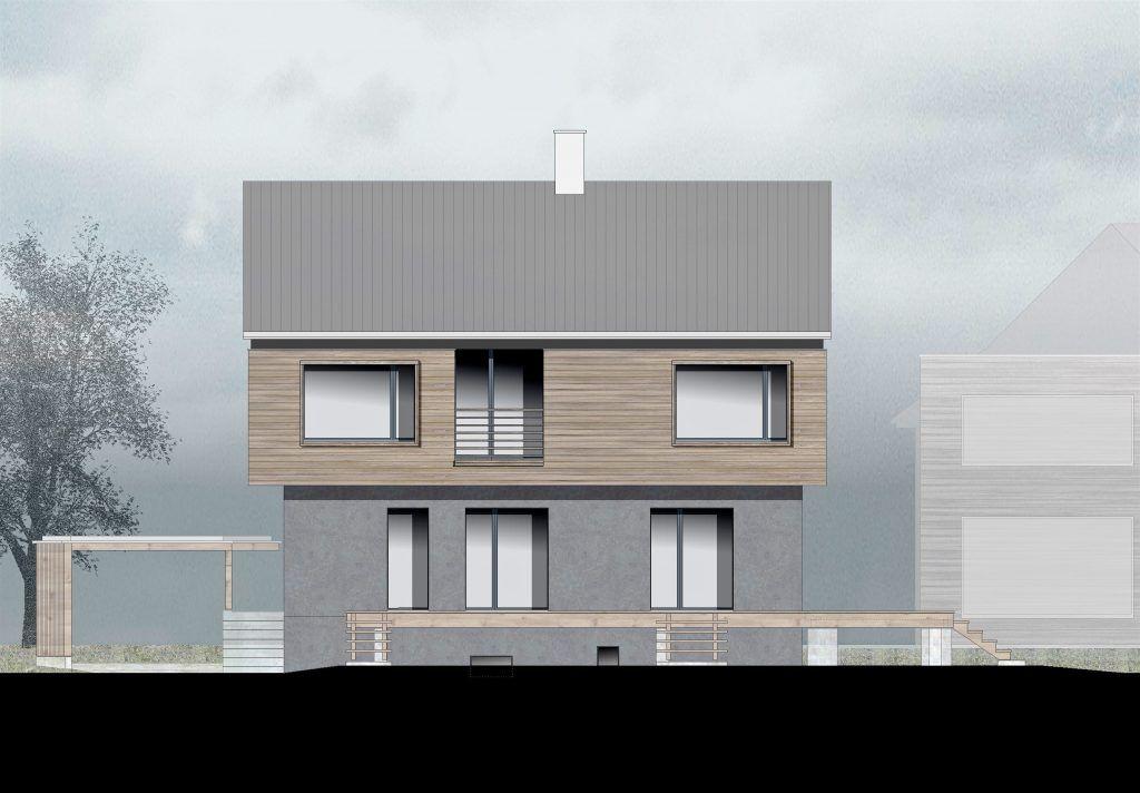 oekologischer und baubiologischer Umbau, Aufstockung und Erweiterung Wohnhaus Bühlweg Windisch, SW-Fassade