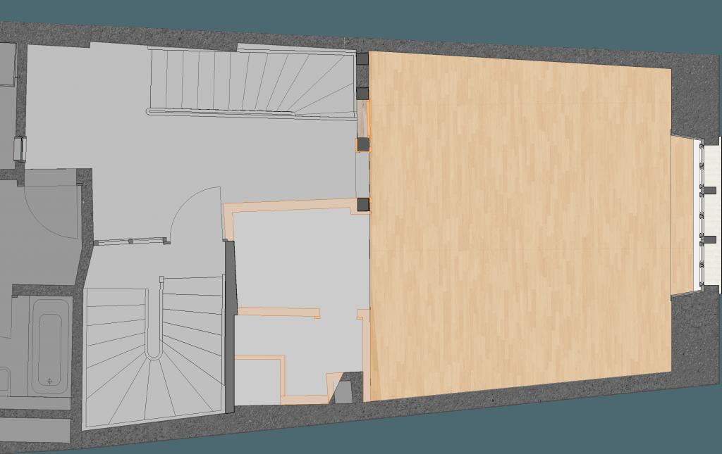 Umbau Spiegelgasse Brugg 2. Obergeschoss Süd, Grundriss Abbrüche