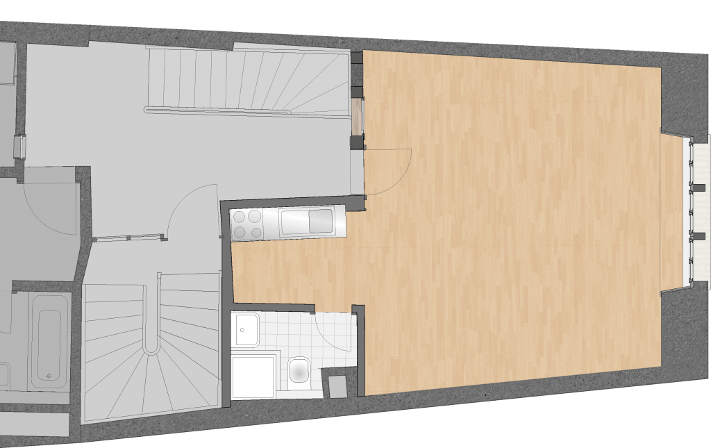 Umbau Spiegelgasse Brugg 2. Obergeschoss Süd, Grundriss vor dem Umbau