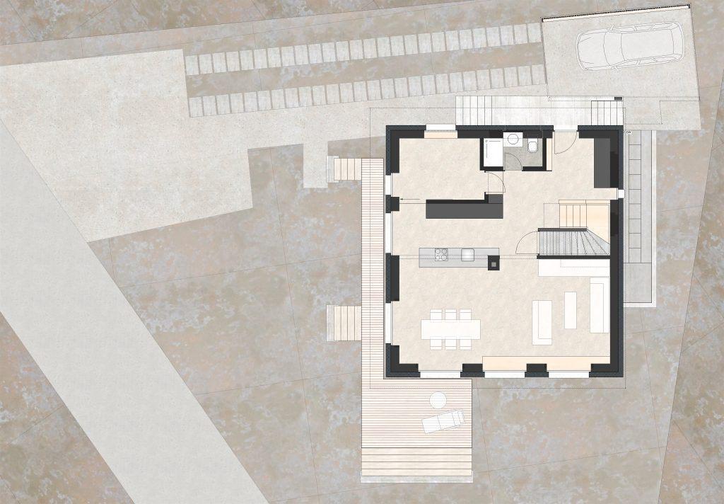 Aufstockung und Erweiterung Wohnhaus Bühlweg Windisch Grundriss Erdgeschoss Neu