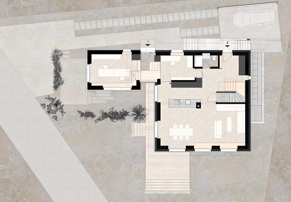 Aufstockung und Erweiterung Wohnhaus Bühlweg Windisch Grundriss Erdgeschoss mit Bueroanbau