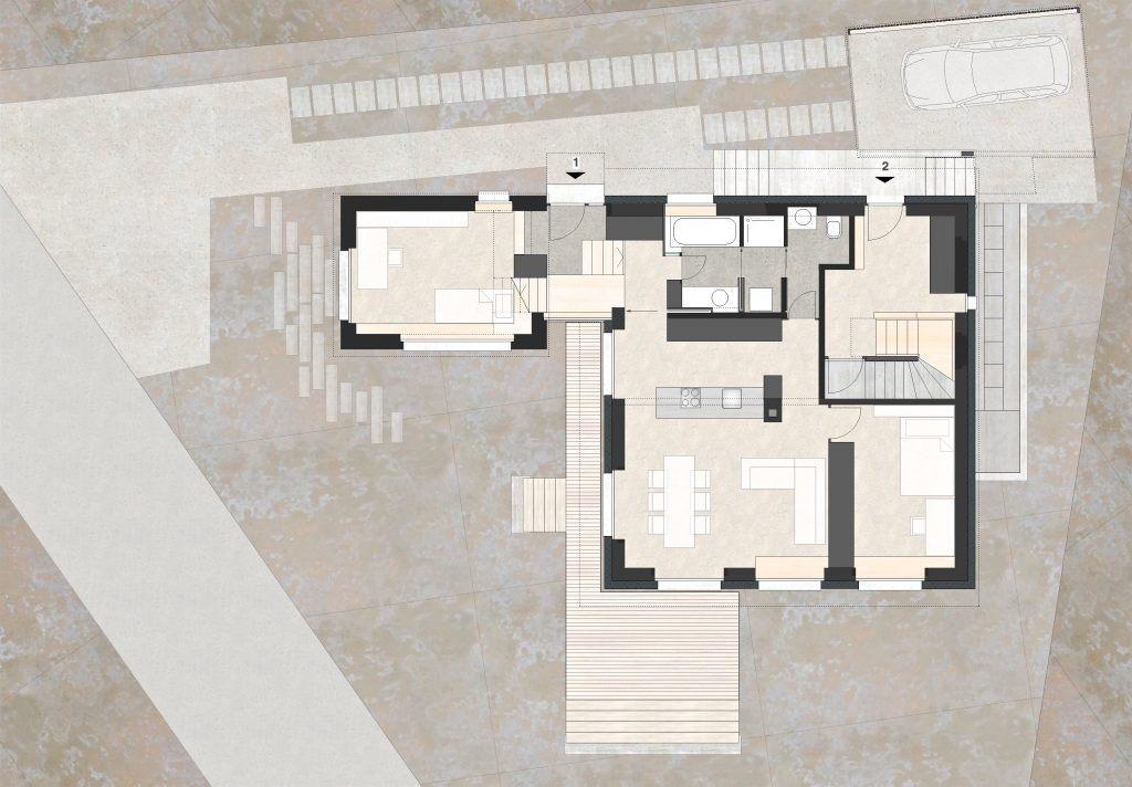 Aufstockung und Erweiterung Wohnhaus Bühlweg Windisch Grundriss Erdgeschoss mit Studio-Anbau
