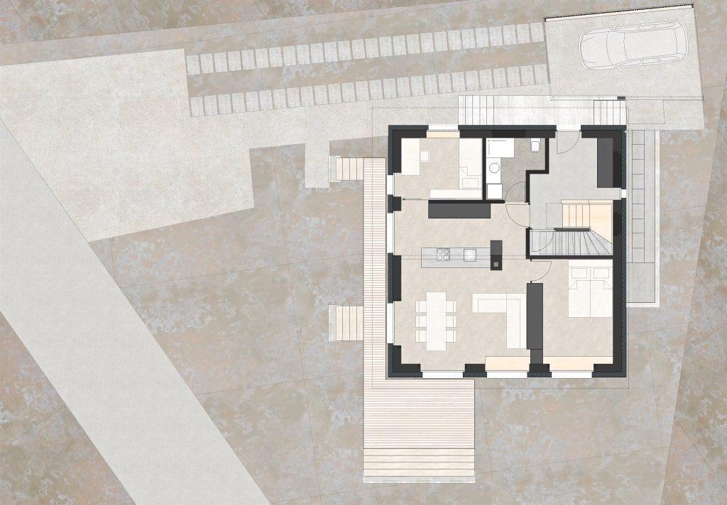 Aufstockung und Erweiterung Wohnhaus Bühlweg Windisch Grundriss Erdgeschoss Unterteilung