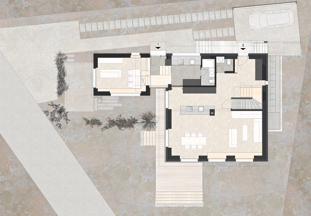 Aufstockung und Erweiterung Wohnhaus Bühlweg Windisch Grundriss Erdgeschoss Anbau Studio