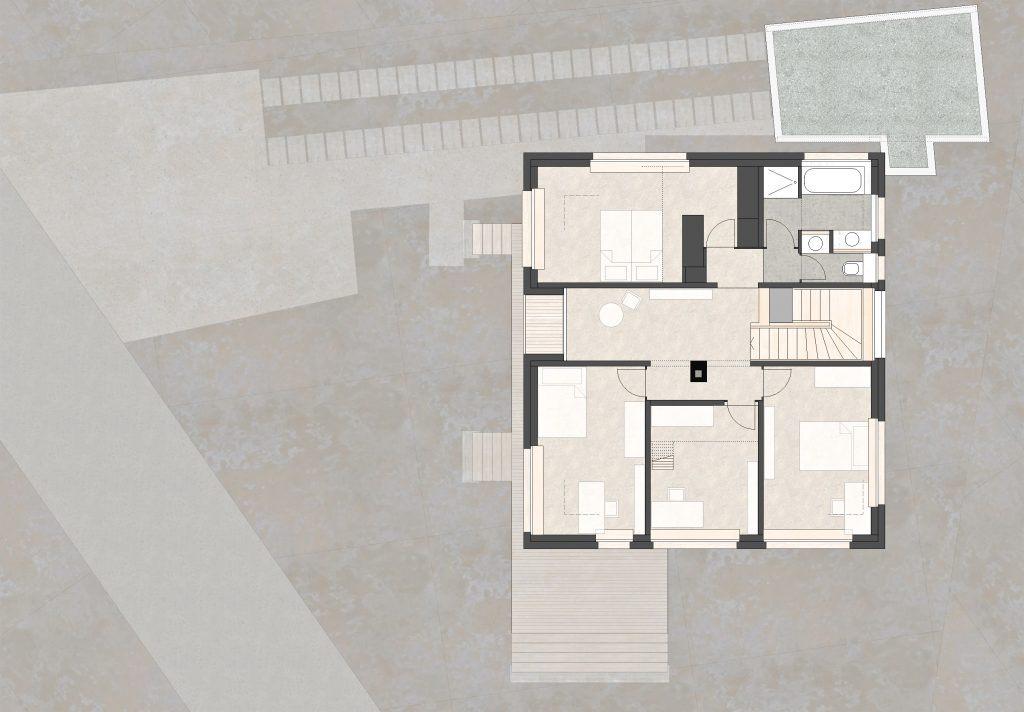 Aufstockung und Erweiterung Wohnhaus Bühlweg Windisch Grundriss Obergeschoss Neu