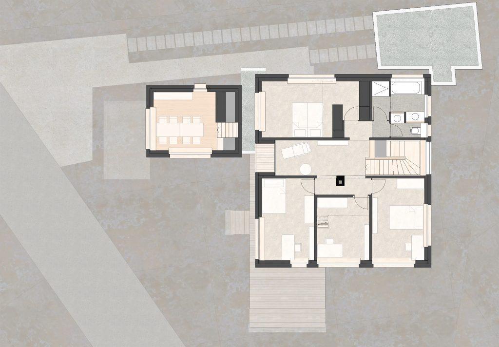 Aufstockung und Erweiterung Wohnhaus Bühlweg Windisch Obergeschoss Anbau Buero