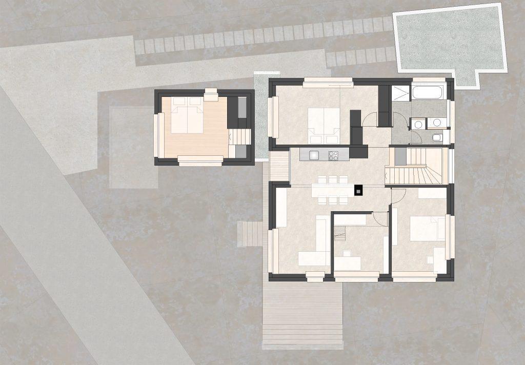 Aufstockung und Erweiterung Wohnhaus Bühlweg Windisch Obergeschoss mit Anbau