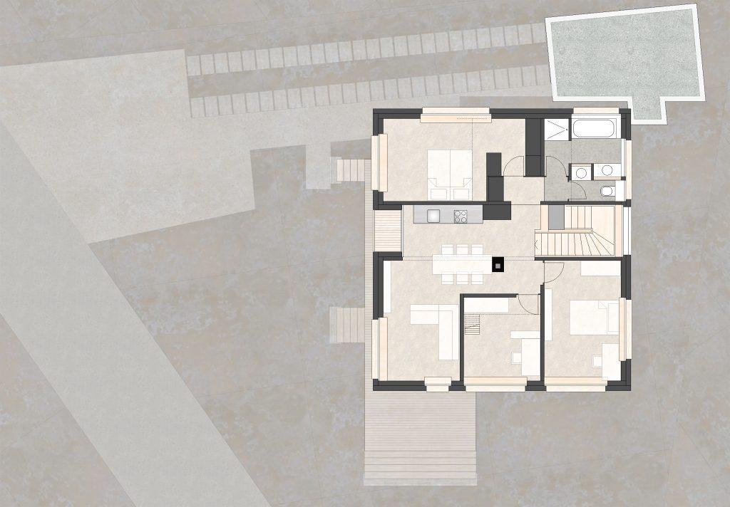 Aufstockung und Erweiterung Wohnhaus Bühlweg Windisch Obergeschoss unterteilt