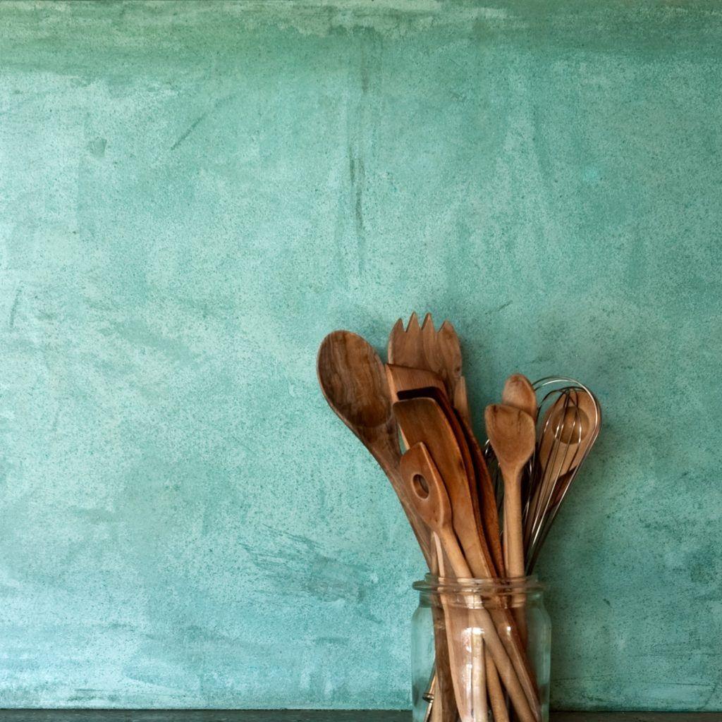 Baubiologie   Küchenrückwand Stucco-Spachtel