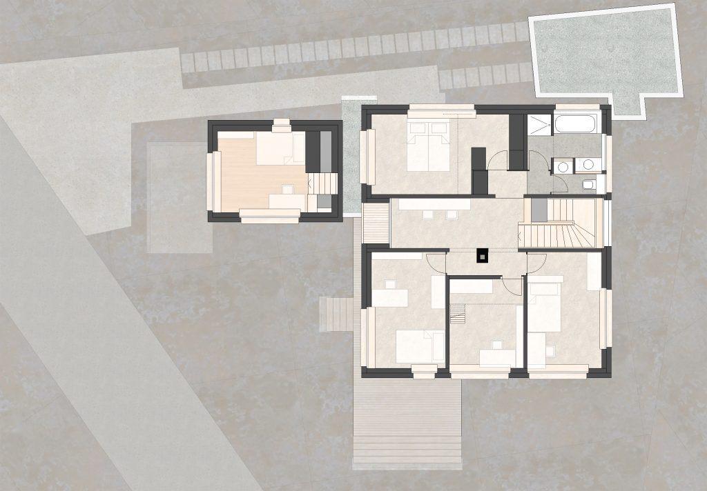 Aufstockung und Erweiterung Wohnhaus Bühlweg Windisch Grundriss Obergeschoss Anbau Studio
