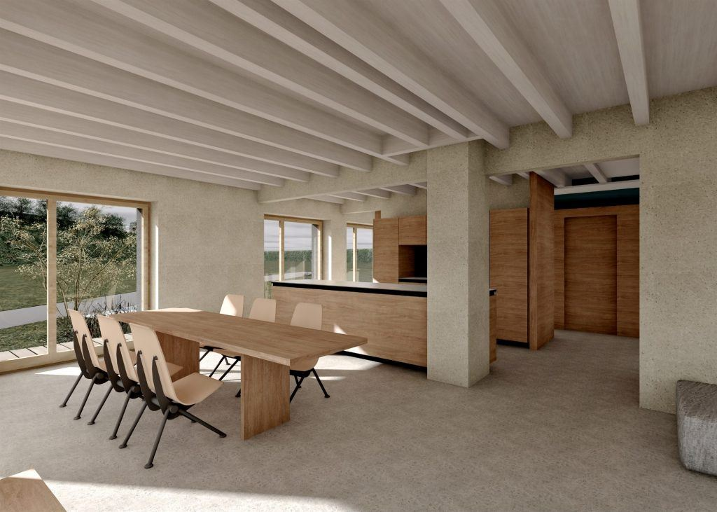 Aufstockung und Erweiterung Windisch Visualisierung Essbereich, Gang und Küche