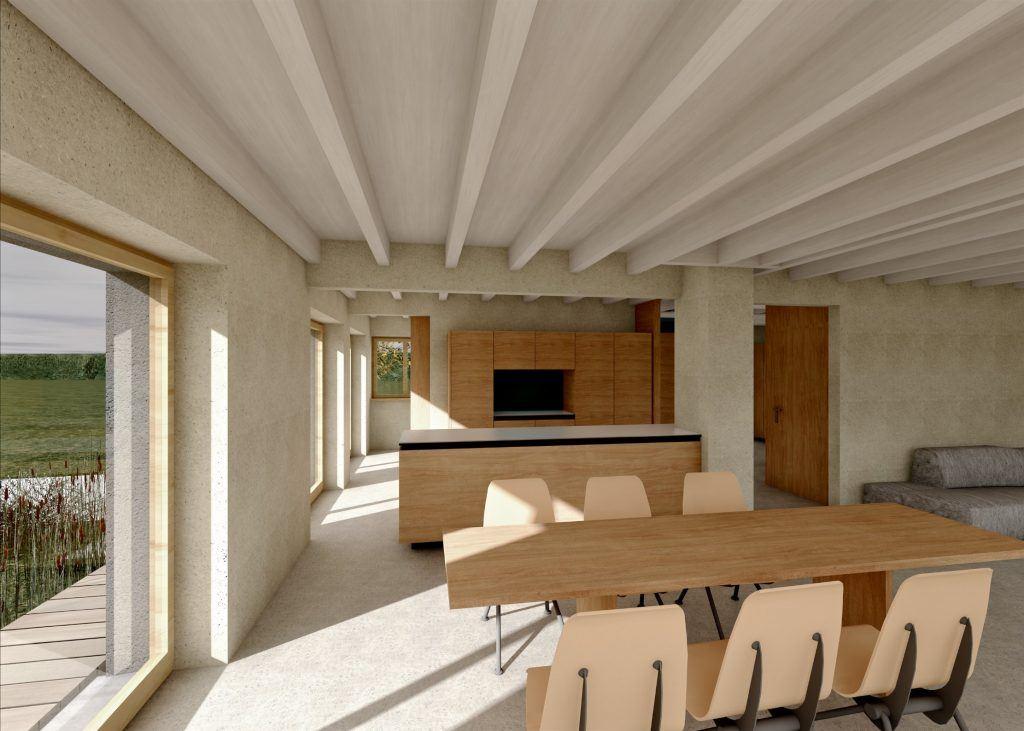 Aufstockung und Erweiterung Windisch Visualisierung Essbereich   Blick durch alle Räume