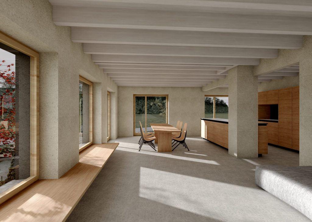Aufstockung und Erweiterung Windisch Visualisierung Wohn- und Essbereich
