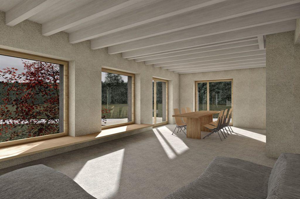Aufstockung und Erweiterung Windisch Visualisierung Wohnbereich offener Grundriss