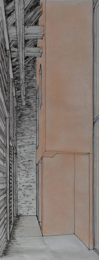 Umbau Bauernhaus und Neubau Habsburg Skizze Tenn | Ständer-/Lattenfassade mit Durchblick