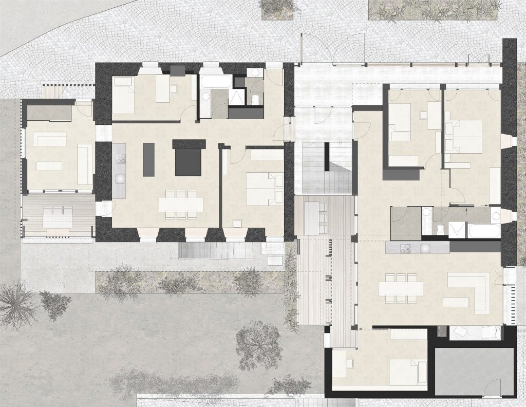 Umbau Bauernhaus Habsburg Erdgeschoss | Umbau Wohnteil, Wohn-Einbau im Oekonomieteil