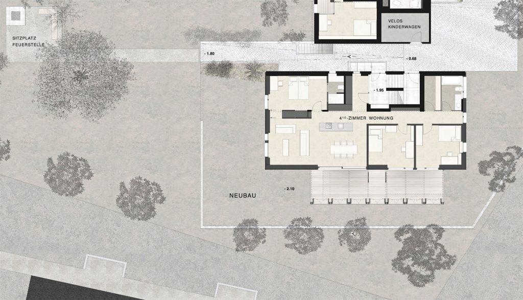 Neubau Habsburg Erdgeschoss | Durchgang zum Garten und Neubau mit grosser Holzveranda