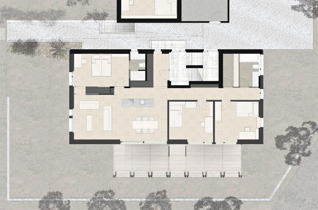 Neubau Habsburg Erdgeschoss 4 1/2 Zimmerwohnung mit grosser Holzveranda