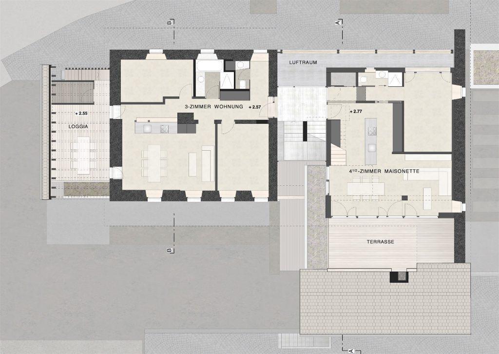 Umbau Bauernhaus Habsburg Obergeschoss | 3-Zimmerwohnung Wohnteil, Maisonette im Oekonomieteil