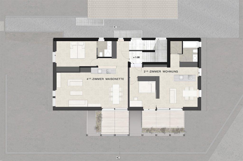 Neubau Habsburg Obergeschoss |Maisonette und 2 1/2 Zimmerwohnung, Holzveranda
