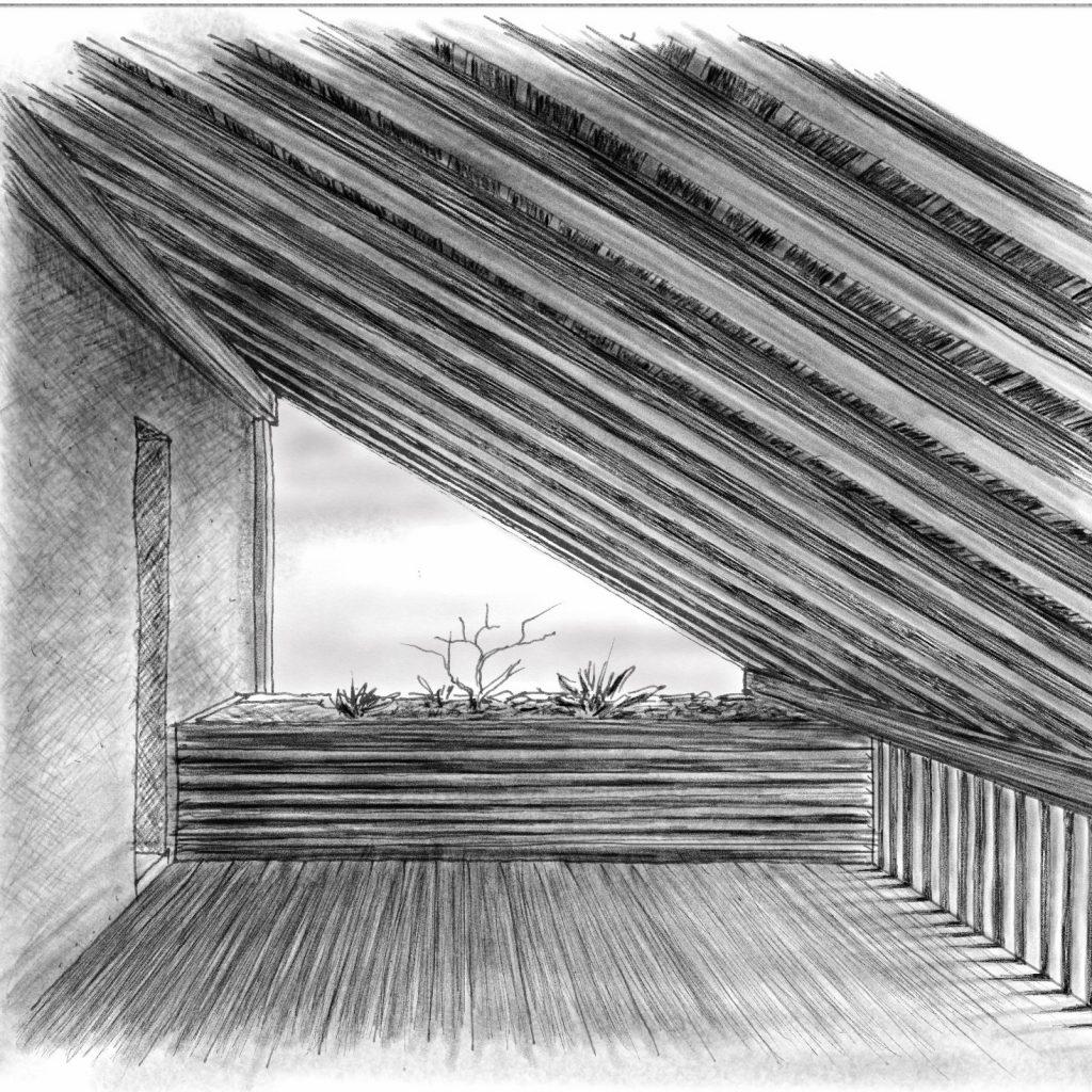 Umbau Bauernhaus Habsburg Skizze Loggia im Obergeschoss des West-Anbaus