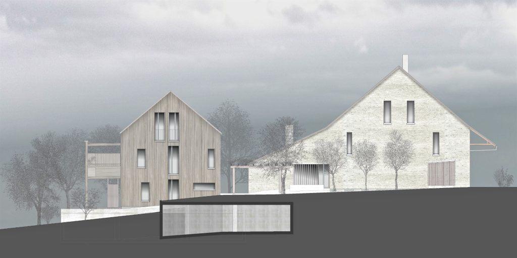 Umbau Bauernhaus und Neubau Habsburg Ostfassaden | Steinfassade des Bauernhauses und Neubau in Holz