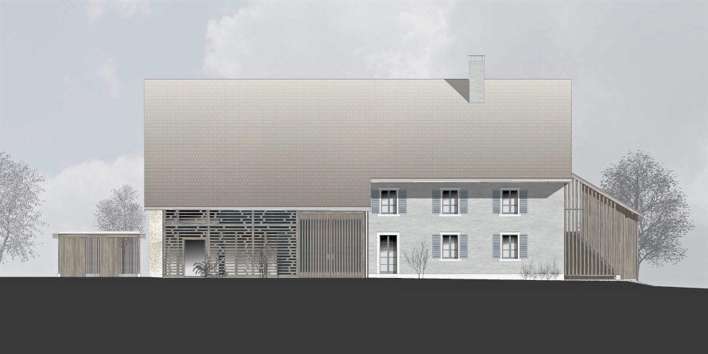 Umbau Bauernhaus Habsburg Nordfassade | neuer Anbau West | offene Fassade Oekonomieteil