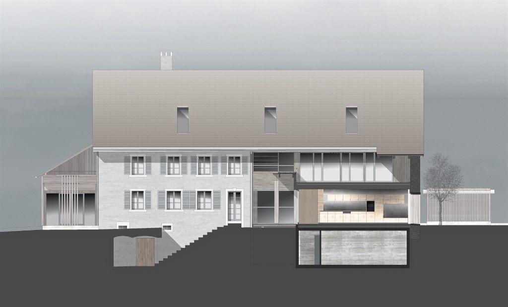Bauernhaus Habsburg Südfassade | Wohnteil und Schnitt durch Suedanbau Stallbereich