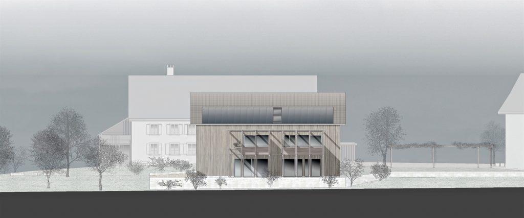 Neubau Habsburg Südfassade mit Umgebung | Garten | Pergola des Dorfplatzes