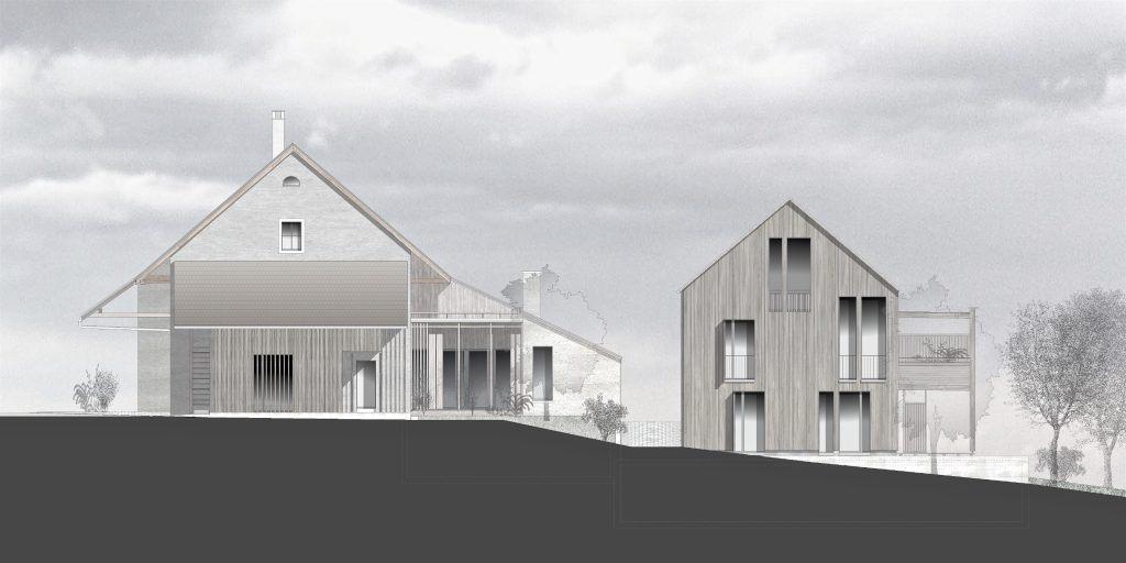 Umbau Bauernhaus und Neubau Habsburg Westfassaden | Neubau ordnet sich unter
