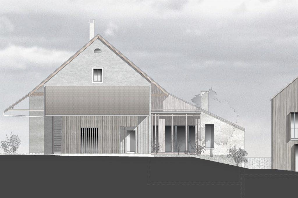 Bauernhaus Habsburg Westfassade | Anbauten mit grösseren Offnungen hinter filigranen Holzstrukturen