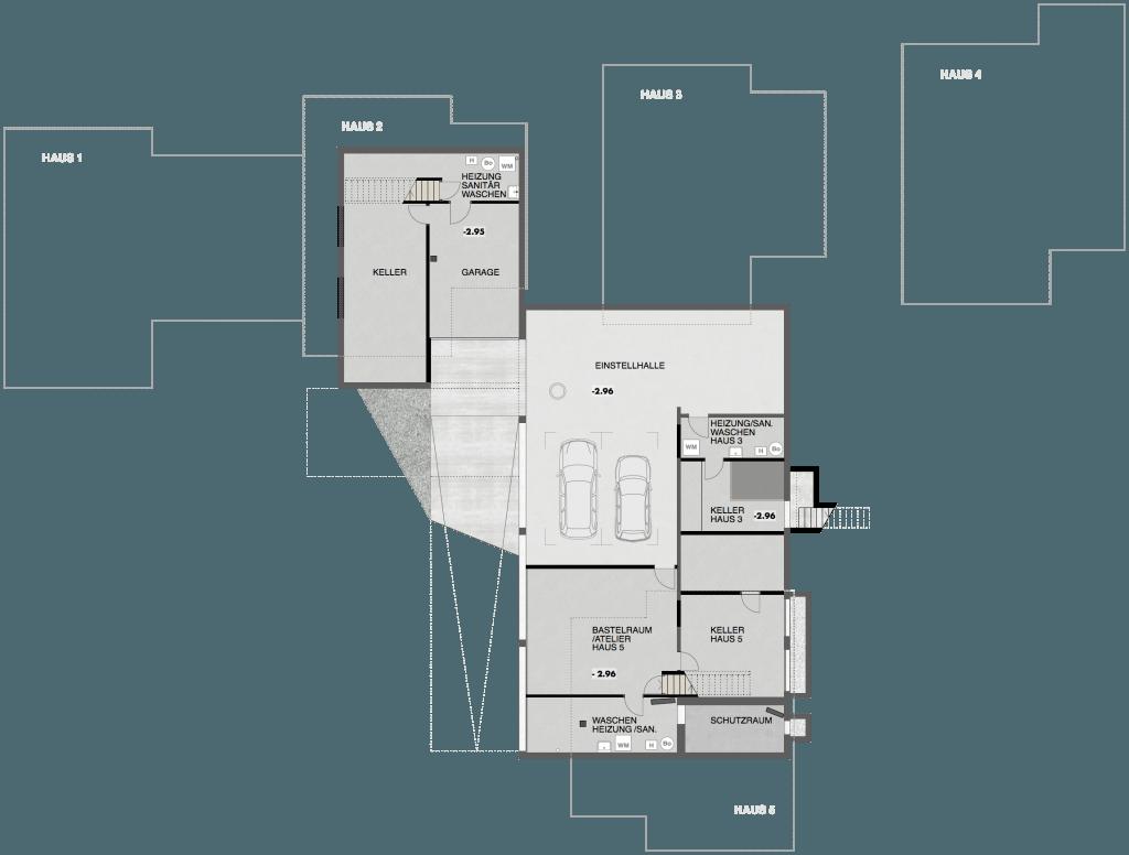 5 Einfamilienhäuser Klingnau Grundriss Untergeschoss