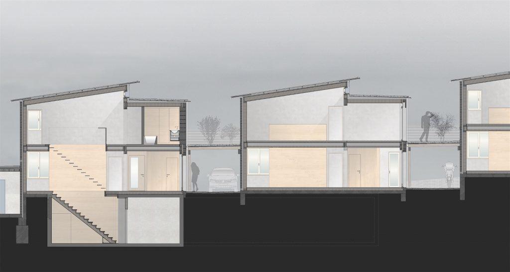 5 Einfamilienhäuser Klingnau Schnitt A | Holzvolumen Steinvolumen Carports und Terrassen