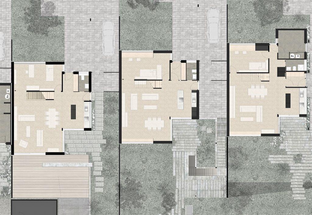 5 Einfamilienhäuser Klingnau Grundriss Erdgeschoss | Räumliche Grosszügigkeit durch effizienten Grundriss