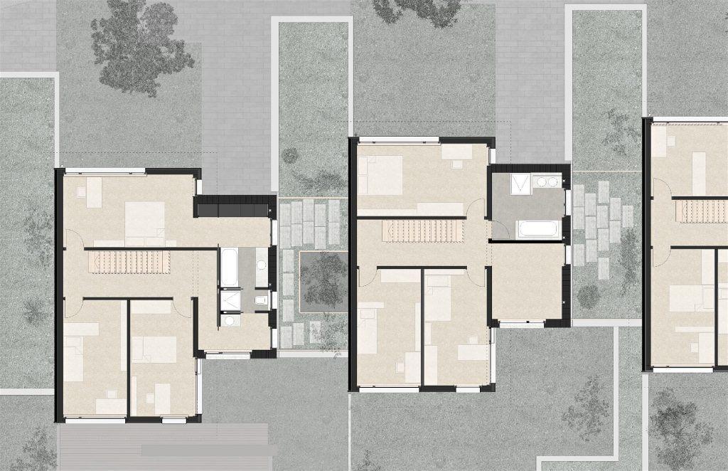 5 Einfamilienhäuser Klingnau Grundriss Obergeschoss mit Nebenräumen im Steinvolumen