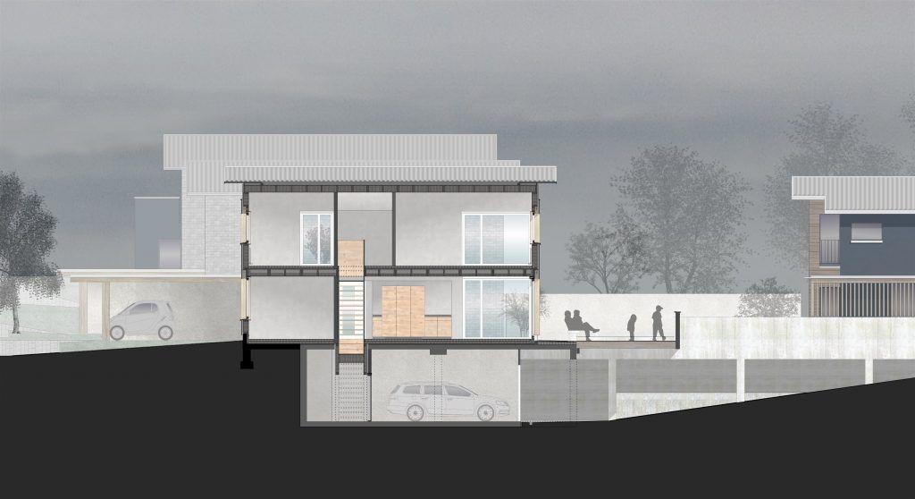 5 Einfamilienhäuser Klingnau Schnitt C Haus 2