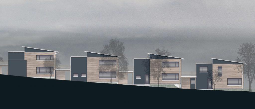 5 Einfamilienhäuser Klingnau Nordost-Fassaden | Differenzierung der Bauweisen im Fassadenmaterial