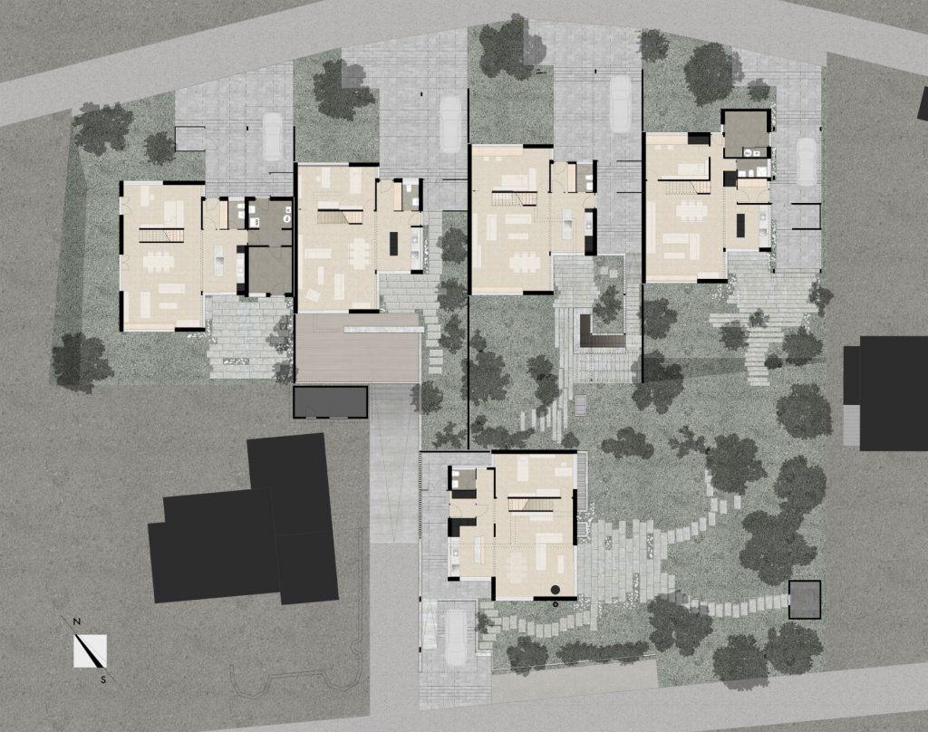 5 Einfamilienhäuser Klingnau Situation | Dichte bei hoher Aussenraumqualität durch Staffelung der Volumen