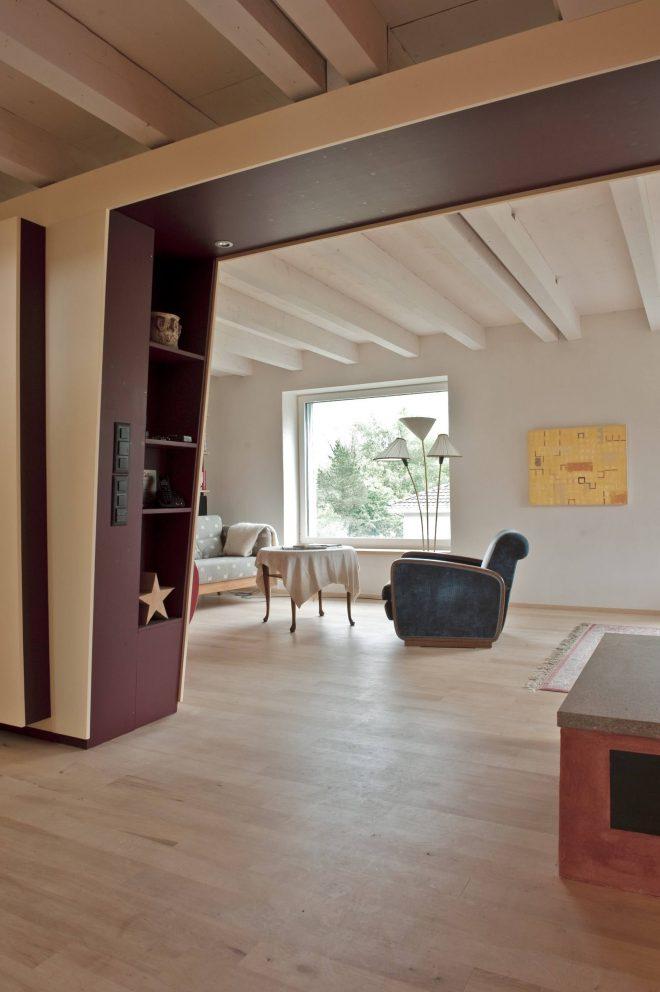 Umbau Einfamilienhaus Umiken Eingang-Wohnen mit verkleideter Abfangkonstruktion