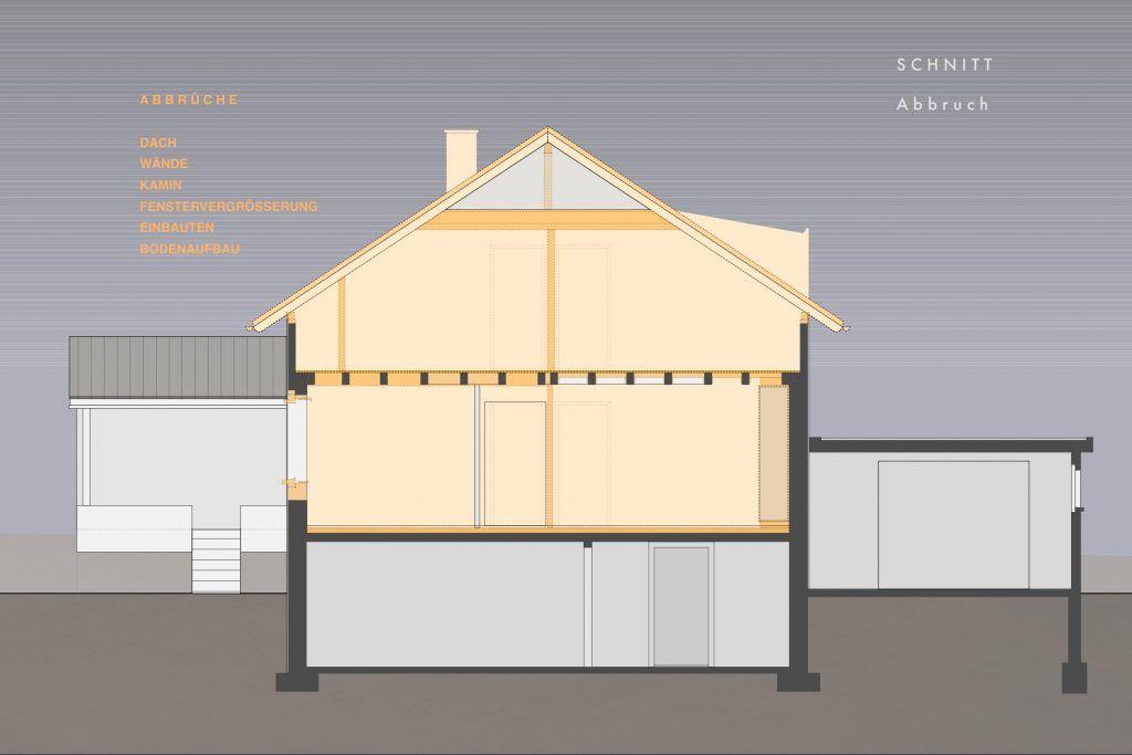 Umbau Einfamilienhaus Umiken Schnitt mit Abbruch
